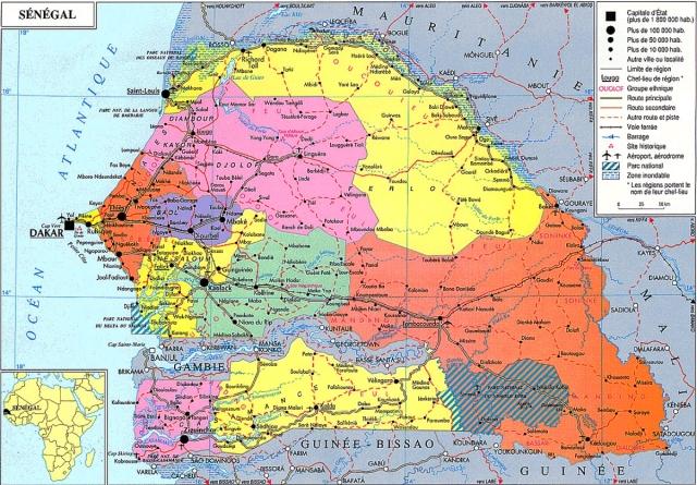 Kaart van Senegal